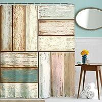 Rústico antiguo de madera garaje cuadrado puerta cortina de ducha, 3d impresión digital set de