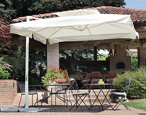 PEGANE Parasol déporté carré 3 x 3 m Mat Blanc mât Aluminium 80 mm - A Usage PROFESIONNEL