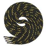 Chaussures de sport pour enfant Di Ficchiano de qualité, 100% polyester, avec lacets ronds, diamètre d'environ 4,5mm, (70-220 cm) - Noir - noir/jaune, 100 cm