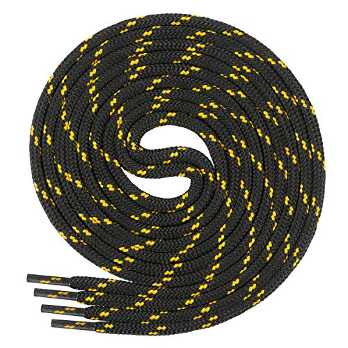 Di Ficchiano runde SCHNÜRSENKEL für Arbeitsschuhe und Trekkingschuhe - sehr reißfest - ø ca. 4,5 mm, Polyester - SP-01-black/yellow-90