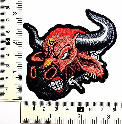 Red Bull Bison Lady Buffalo Rider Biker Rock Patch Weste/Jacke Biker Patch Motorrad Fahrer Biker Tattoo Jacke T-Shirt Patch Sew Iron on gesticktes Schild Badge -