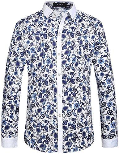 SSLR Chemise Homme Manche Longue Casual Imprimé Millésime en Coton Blanc et Bleu