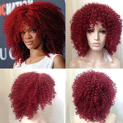 Royalvirgin Hochwertige Rihanna Schnitt Haar Stil Synthetische Red Curly Perücke Afro Kinky Curly Perücken Für Frauen Perruque Cosplay (Perücken Rihanna)