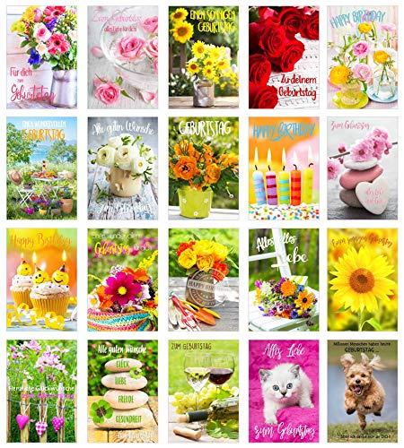Set 20 exklusive Premium Geburtstagskarten mit Umschlag. Glückwunschkarte Grusskarte zum Geburtstag. Geburtstagskarte Mann Frau (Doppelkarten/Klappkarten mit Briefumschlag) Billet