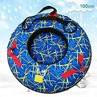 ZHAOK Trineo Hinchable de Nieve 100CM Tubo de Esquí Inflable con Manijas Snow Tube Juguetes de Nieve Invierno para Niños y Adultos,b