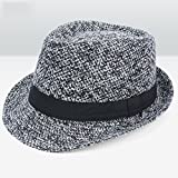 Sunny Hut konische Kurze Traufe Baumwolle 56-59cm Grau Marineblau Braun (Farbe : Gray)