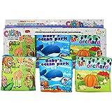 Juego de 3 Libros de Tela Para el Desarrollo Intelectual del Bebé - Libros de Tela Impresos para Guardería, Actividades de Aprendizaje Preescolar de HAPPYBABY-HAPPYYOU, Diseño Moderno y Materiales Seguros