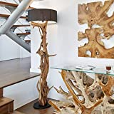 Hochwertige Stand-lampe BLUMA | Designer Stehlampe Teakholz mit Holz-Zertifikat | Wurzelholz Unikat in Handarbeit | Höhe 180 cm | Lampenschirm: Schwarz | Das Highlight für Wohnzimmer, Büro u. Praxis