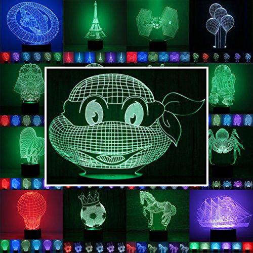 3D Lampe 3D Leuchte 3D LED Stimmungslicht. 7 Farben - Auswahl aus 81 verschiedenen Motiven,hier Ninja Turtles ca.16x20cm inkl.Sockel - 3D Illusion Dekolicht mit USB Anschluß und 220V USB Netzteil