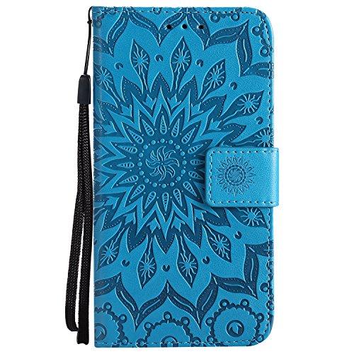 Lomogo LG Q6 / Q6+ (Q6 Plus) Hülle Leder Blumenprägung, Schutzhülle Brieftasche mit Kartenfach Klappbar Magnetverschluss Stoßfest Kratzfest Handyhülle Case für LG Q6 / LGM700N - LOKTU20672 Blau Q Smartphones