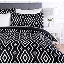 AmazonBasics Microfiber Duvet Cover Set – 200 x 200 cm, Double - Black Aztec