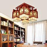 KHSKX Deckenleuchte,Chinesische feste Holz Fangyangpi LED Lampe Studie klassischen Ambiente Lampe Schlafzimmer Wohnzimmer Lampe Leuchte Deckenlampe