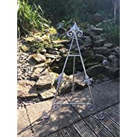 Large SILVER Fleur De Lys Iron Easel 36 inch/3 Foot Holder Wedding Table Top Plan Display Artwork Picture Canvas Menu Book Plate Craft Stand AA-23-36