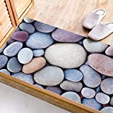 CCNIU 3D Cobblestone Bodenaufkleber Rutschfeste Farbe Stein Wohnzimmer Badezimmer Dekoration Wandaufkleber 60 * 120CM