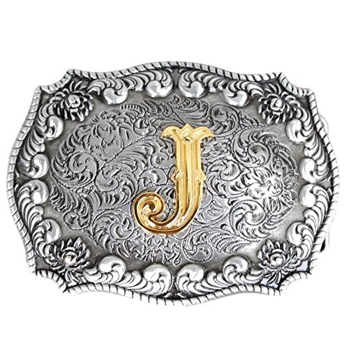 Bai You Mei western style cowboy gold initial letters buckle belt for men J