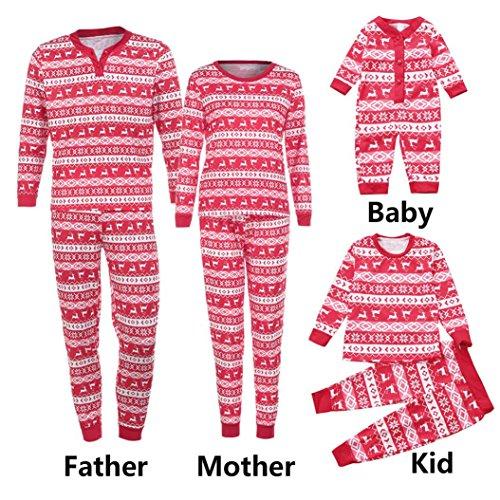 Ouneed Weihnachten Deer Pyjama Schlafanzug Familie Weihnachts Xmas Weihnachtspyjama Nachtwäsche Hausanzug Sleepwear Sweater Set Damen Herren Kinder Mädchen Jungen (Vater-Rot, L)