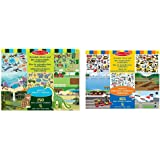 Melissa & Doug - 14196 - Bloc D'Autocollants Réutilisables - Habitats & 14199 - Bloc D'Autocollants Réutilisables - Véhicules
