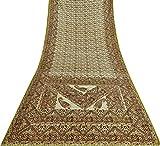 Vintage Saree Mit Blumenmuster Aus Reiner Seide Creme Sari