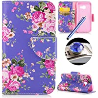 Etsue Leather Case for Samsung Galaxy A5 2017,Elegant Rose Flower Pu leather Flip Wallet Protective Case Cover with Stand and Soft inner for Samsung Galaxy A5 2017+Blue Stylus Pen+Bling Glitter Diamond Dust Plug(Colors Random)-Rose Flower