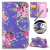 Funda rosa de piel con cartera incorporada y ranuras para guardar tarjetas, decorada con dibujos de dientes de león. Para Samsung Galaxy A52017. Marca Etsue.. Rose Flower