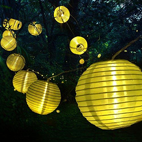 Tobbiheim Solar Lichterkette mit USB Ladung 20 LED Laterne 5 Meter Lampions Super Lange Beleuchtungszeit Wasserdicht IP68 Outdoor Garten Außenbeleuchtung – Warmweiß