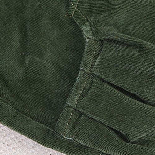 YOUJIA Femme Taille élastique Pantalon long Sarouel Corduroy Trousers Pantalon Chino en Velours Armée verte