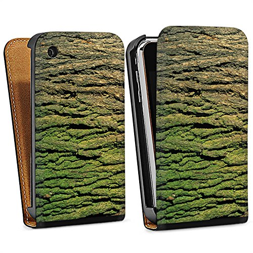 Apple iPhone 5s Housse Étui Protection Coque Écorce Look écorce Arbre bois Sac Downflip noir