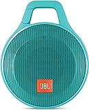 JBL Clip+ - Altavoz portátil para smartphones, tablets y MP3 (Bluetooth, recargable, robusto, resistente a salpicaduras, entrada AUX), color cerceta