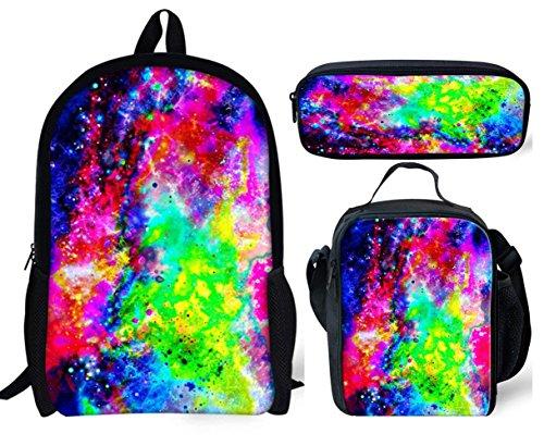 POLERO Galaxy Schulranzen, Schüler Stilvolle Unisexsegeltuch-Buch-Tasche für Teen mit Lunch Box und Federmäppchen 3 PCS