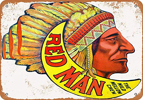 WallAdorn Red Man Chewing Tobacco Iron Poster Painting Tin Sign Vintage Wall Decor for Cafe Bar Pub Home