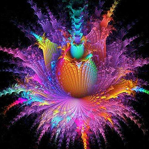 Qiulv Coloré Fleur Diamant Peinture DIY 5D Plein Percer Résine Multicolor Floraison Photo Strass Broderie Artisanat Mur Autocollants,Squarediamond,90 * 90Cm