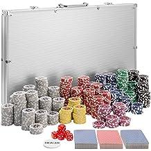 TecTake Maletín de Póker aluminio con 1.00 fichas láser poker chips | plateado | incl. 5 dados + 2 barajas de cartas + 1 ficha de Dealer