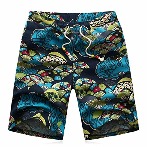 Men's Fashion Linen Designer Casual Beach Shorts LightSeaGreen