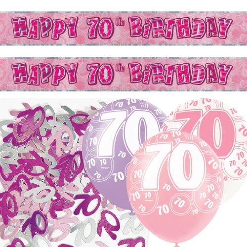 Kit de décoration de fête Brillant rose 70 ans