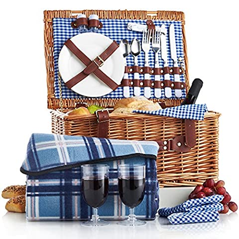 VonShef Panier pique-nique en osier 2 personnes (avec couverts, assiettes et verres à vin) - Vichy bleu + couverture
