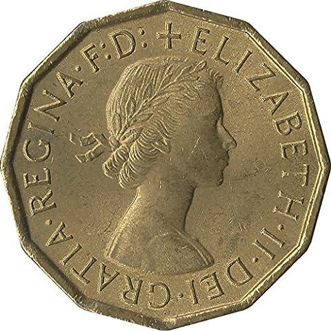 Reine elizabth II thrupenny Bit/threepence nickel-brass Monnaie 1964