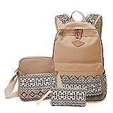 Minetom Fashion Damen Canvas Schulrucksack Kuriertaschen Brieftasche 3 Pcs Set Khaki