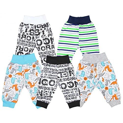 TupTam Unisex Baby Pumphose Jersey Schlupfhose 5er Pack, Farbe: Junge 2, Größe: 86