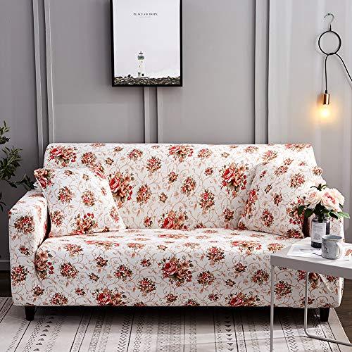 Ihoming Bedruckter Stretch Sofa Schonbezug Loveseat Schonbezug Couch Schonbezug mit 2 Kissenbezügen, 2/3/4/ Sitzsofa Bezüge Loveseat Floral Rose