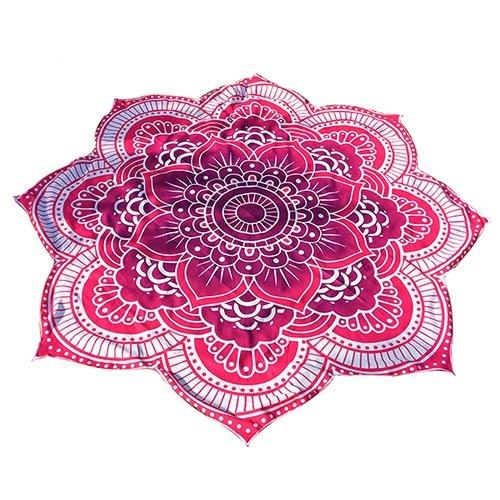 SoundsBeauty, telo da spiaggia in stile indiano, hippy, rotondo con mandala, tappetino per yoga, arazzo in stile gitano Flower + Multicolor