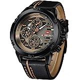 Naviforce 9110 B-Y-BN Leather Round Analog Watch for Men - Black