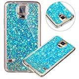 kompatibel mit Galaxy S5 Hülle,Luxus Glänzend Glitzer Bling Stern Muster TPU Handyhülle Bumper Case Silikon Schutzhülle Handy Tasche Rückseite Hülle Etui für Galaxy S5 / S5 Neo,Blau