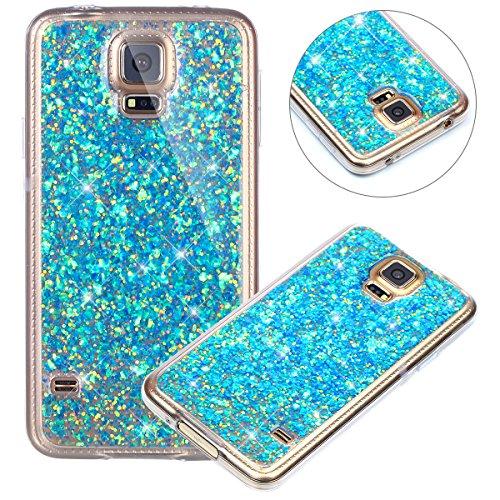 Surakey Custodia Samsung Galaxy S5, Cover in Silicone Morbido con Brillantini/Glitters,Flessibile Gomma Soft Protettiva Skin Paillettes Bling Ultrasottile Cover per Samsung Galaxy S5,Blu
