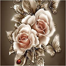 Tomtopp 35 * 35 cm DIY 5D Diamond Retro Flower Painting Embroidery Home Decor Craft (A)