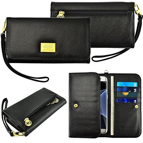 Case + Schwarz Stylus Echtes Leder Geldbörse/Tasche Passend für Apple ZTE Samsung Universal Damen Luxus Smart Handy Clutch Wristlet Strap Flip Wallet-Schwarz. Passend für folgende Modelle: Boost-i415