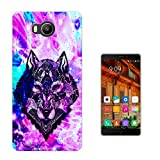 002711 - Colourful Pink Galaxy Stars Aztec Black Wolf Dog