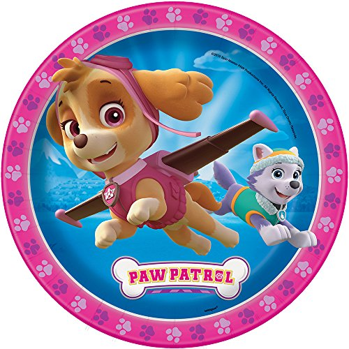 Paw Patrol Plates - Pink [9 Inches - 8 Per Pack]