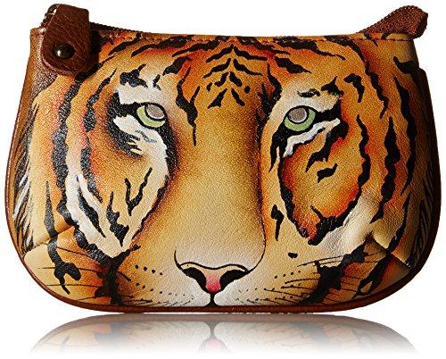 Anuschka handgemalte Leder, Damenbörse, Damenkupplung, Geldbörse der Frauen- Münzenbeutel (Wild Tiger 1107 WTG) (Anuschka Echtes Leder)