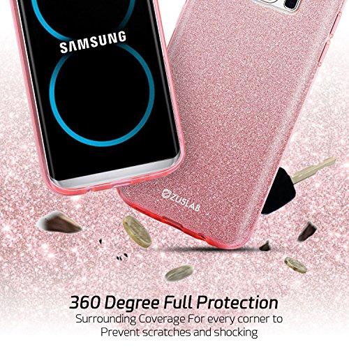 ZUSLAB Galaxy S8 Hülle, Schutzhülle Weiche TPU Abdeckung Glitzer Papier PC innere Schicht Drei in Einem Hülle für Samsung Galaxy S8 [Rosy][Regenbogen] Gold