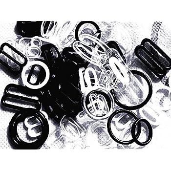 Black Detachable Bra Strap Clips 20 Sets=20 Slides+40 Hooks 18 mm BraAccessories
